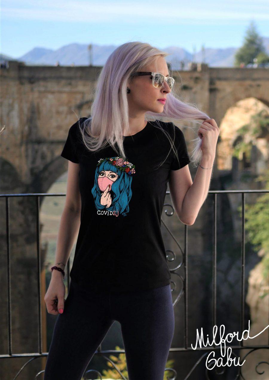 covidej_novy2_cerne damske triko